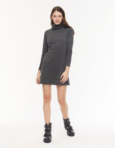 Anthracite two-tone-stripe turtleneck dress - View all > - Nícoli