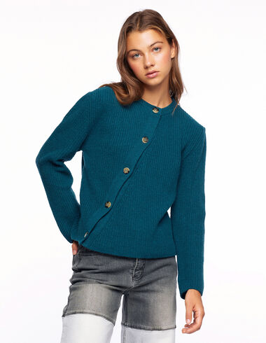 Green ribbed button-up crossover jumper - View all > - Nícoli