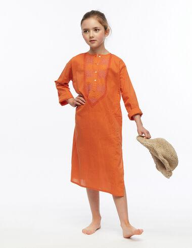 Kurta larga bordada naranja - Vestidos - Nícoli
