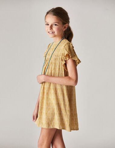 Robe moutarde feuilles de palmiers fille - Fille - Nícoli
