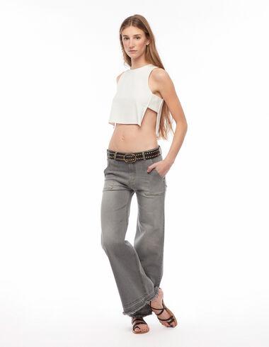 Pantalón ancho bolsillos gris - Denim - Nícoli