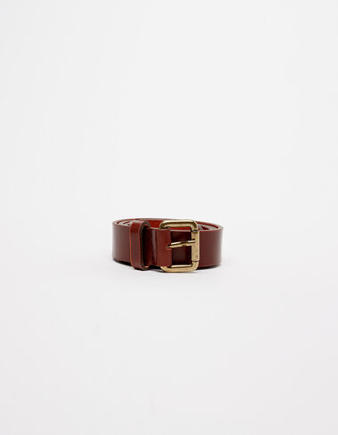 Brown squared buckle belt - View all> - Nícoli