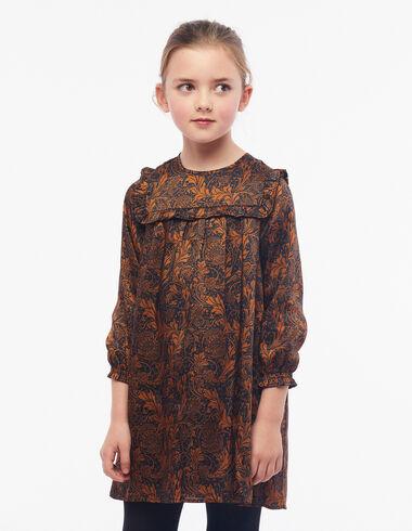 Terracotta floral print ruffle dress - View all > - Nícoli