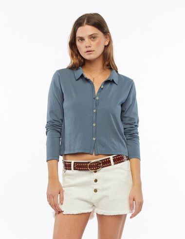 Blue long-sleeved buttoned t-shirt - T-shirts - Nícoli