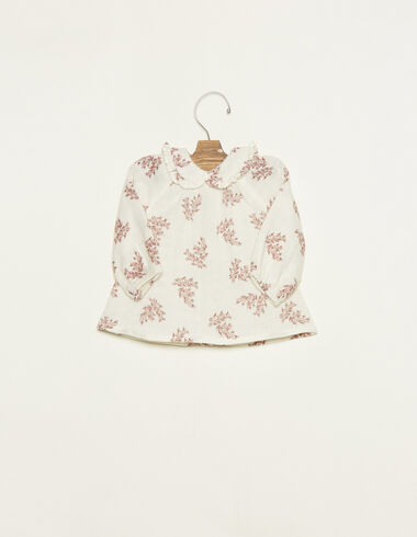 White baby collar blouse with pink floral details - View all > - Nícoli