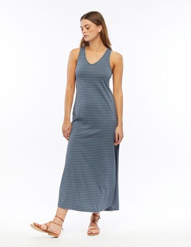 Long blue and anthracite striped dress - Dresses - Nícoli
