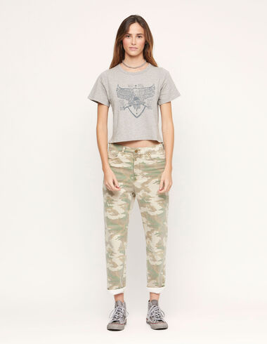 Green camouflage straight leg trousers - View all > - Nícoli
