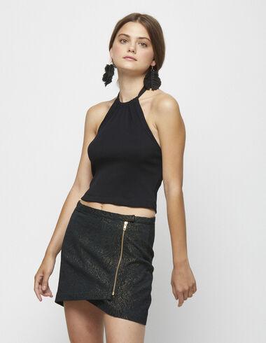 Mini jupe anthracite zippée à paillettes - Jupes - Nícoli