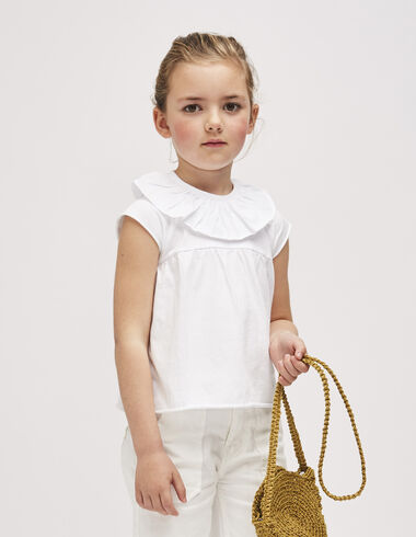 Tee-shirt blanc grand col fille - Tee-shirts - Nícoli