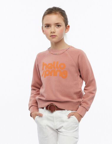 Sweat-shirt hello spring fraise - The Summer Denim - Nícoli