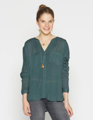 Girl's dark green blouse with pocket - Shirts - Nícoli