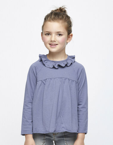 Blue ruffle top - T-shirts - Nícoli