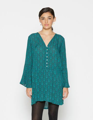 Girl's green paisley bell sleeve dress - Dresses - Nícoli