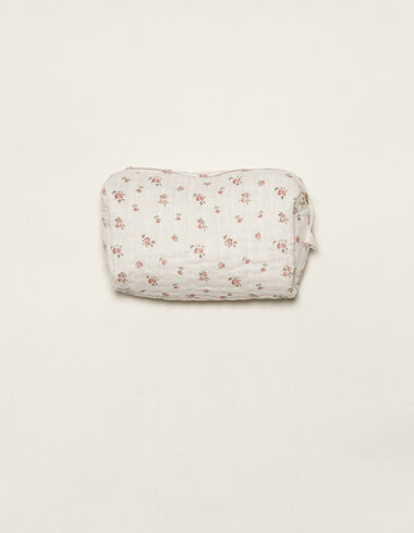 Pink flower print toiletry bag - Baby changing bag - Nícoli