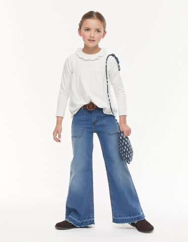 Dark denim wide leg jeans with pockets - Trousers - Nícoli