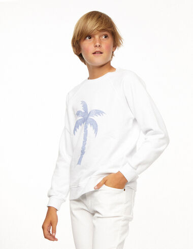 Sweat-shirt palmier blanc - The New Palm Tree - Nícoli
