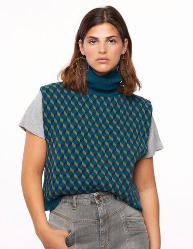 Blue geometric print turtleneck vest - View all > - Nícoli