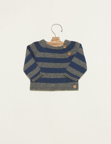 Grey/blue striped jumper with buttons - Jumpers & Sweatshirts - Nícoli