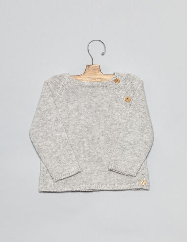 Grey baby sweater with buttons - View all > - Nícoli