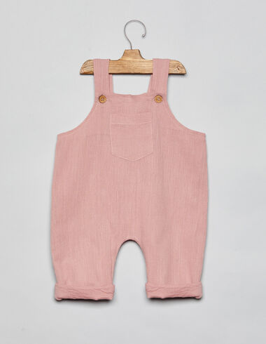 Pink baby dungarees with pocket - Playsuits & Dungarees - Nícoli