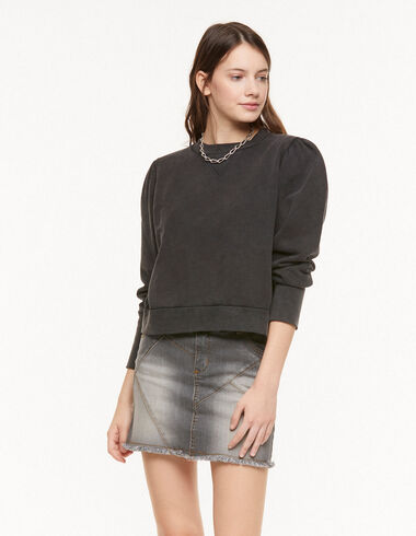 Anthracite puff sleeve sweatshirt - View all > - Nícoli