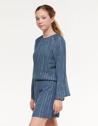 Vestido gomita raya lúrex azul - Vestidos - Nícoli