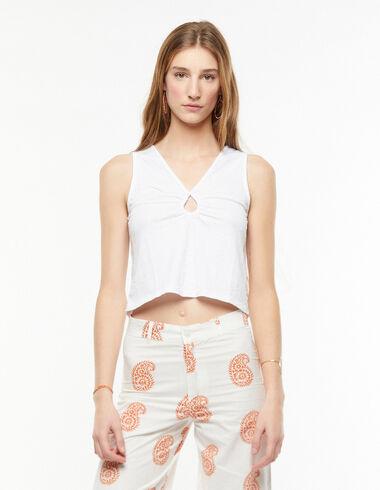 White slit neckline top - View all > - Nícoli