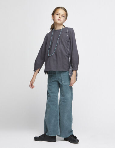 Green corduroy wide leg trousers with pockets - View all > - Nícoli