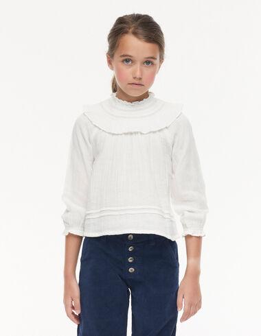 Ecru ruffle perkins neck shirt - View all > - Nícoli