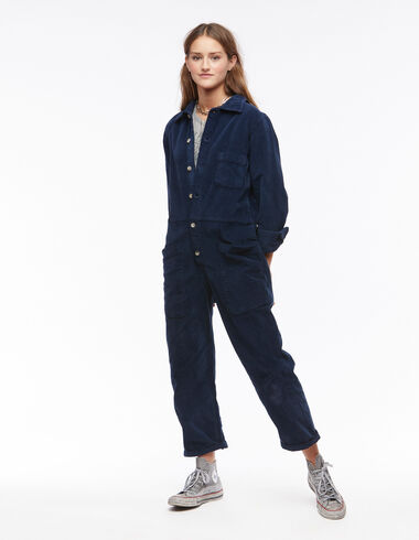 Blue corduroy long-sleeve jumpsuit - View all > - Nícoli