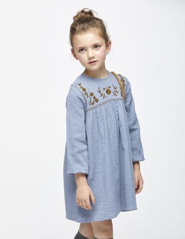 Vestido azul bordado - Vestidos - Nícoli