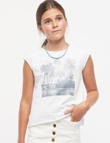 T-shirt palmiers blanc - Tee-shirts - Nícoli