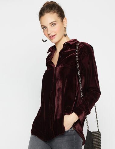 Girl's aubergine velvet blouse - View all > - Nícoli