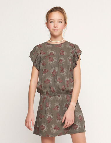 Anthracite twigs wings elasticated dress - View all > - Nícoli