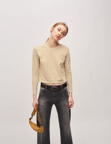 Camiseta chica manga larga rayas mostaza - Camisetas - Nícoli