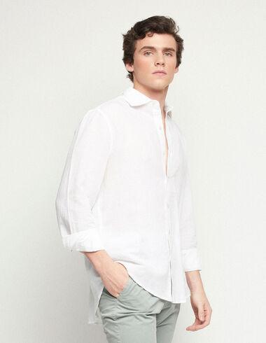 Camisa pico lino blanca - Traspasos (se oculta) - Nícoli