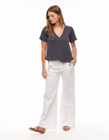 Pantalon large poches blanc - The Summer Denim - Nícoli