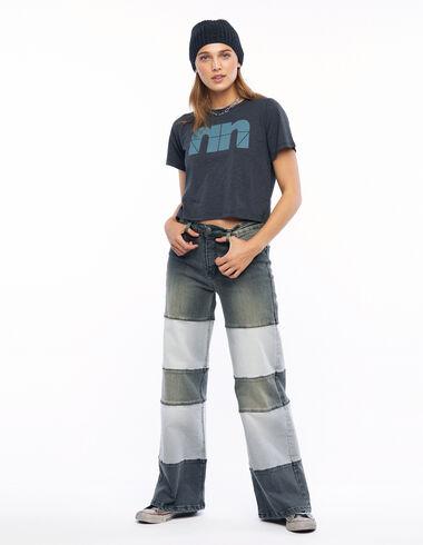 Pantalon wide leg patchwork lavé gris - Denim - Nícoli