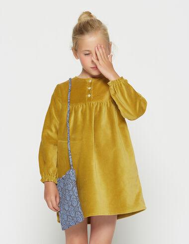 Girl´s mustard velvet dress - Dresses - Nícoli
