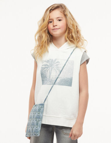 Sweat-shirt sans manches palmiers écru - Pulls et Sweatshirts - Nícoli