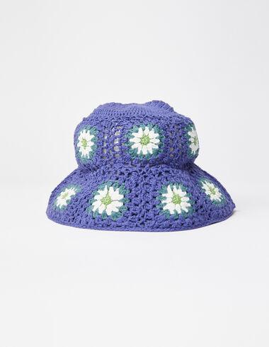 Blue floral knit hat - Hippie Summer - Nícoli