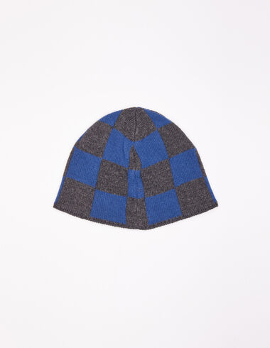 Blue and anthracite checked girl's hat - All About Socks - Nícoli