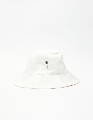 Ecru palm tree print girl's hat  - Pink & White - Nícoli