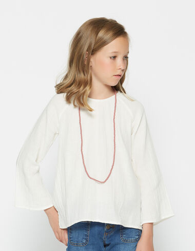 Girl's natural bell sleeve blouse - View all > - Nícoli