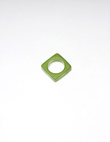 Olive green resin square ring - New Autumn Drops - Nícoli