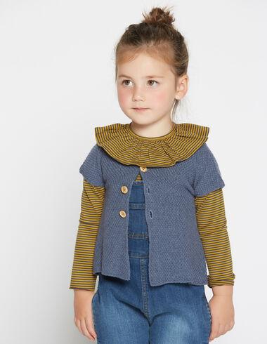 Girl's blue short-sleeved cardigan - Cardigans - Nícoli