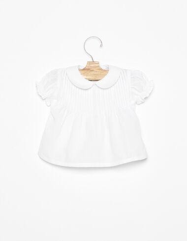 White Peter Pan collar shirt pintucks - Shirts - Nícoli