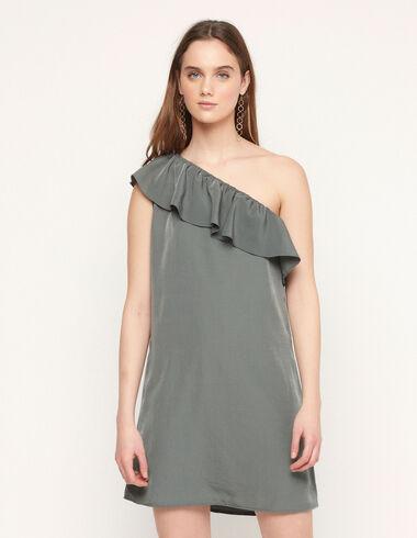Vestido asimétrico volante verde - Special prices - Nícoli