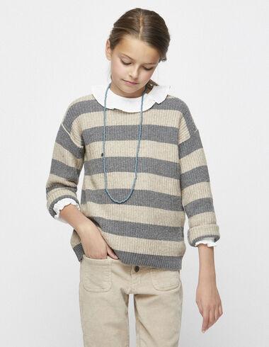 Girl´s grey/nut striped jumper - Jumpers & Sweatshirts - Nícoli