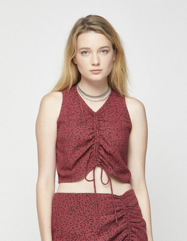 Red animal print top with tie - Shirts - Nícoli